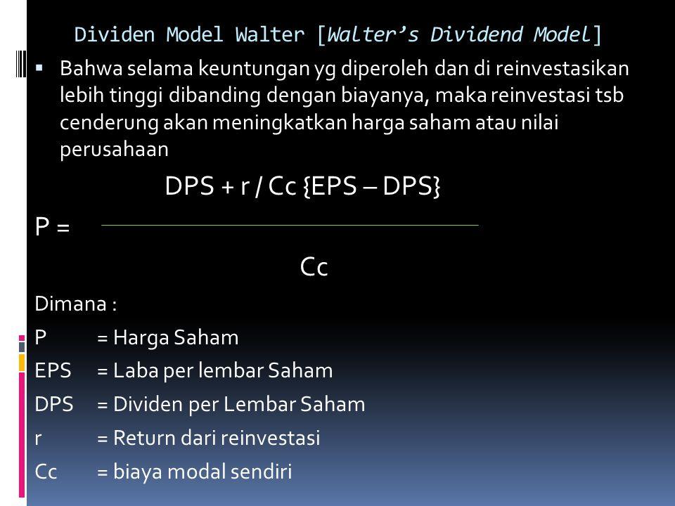 Dividen Model Walter [Walter's Dividend Model]